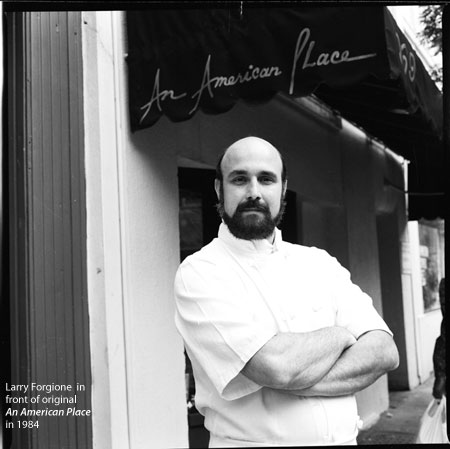 Larry Forgione: Larry Forgione in front of original An American Place in 1984